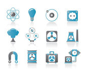 Atomic and Nuclear Energy Icons — Stock Vector