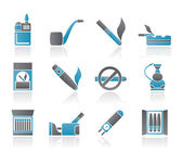 Smoking and cigarette icons — Stock Vector