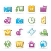 Icone del menu telefono cellulare — Vettoriale Stock