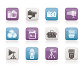 Photography equipment and tools icons — Stock Vector