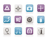 Car and transportation equipment icons — Stock Vector