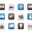 Travel and transportation icons — Stock Vector