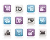 Internet, webbplats och säkerhet ikoner — Stockvektor