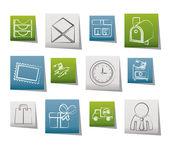 Post, yazışma ve office simgeleri — Stok Vektör