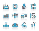 Business, factory and mill icons — Stock Vector