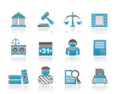 Justice and Judicial System icons — Vector de stock