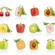 Abstract square fruit icons - Stok Vektör