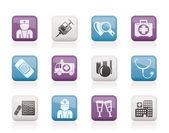Geneeskunde en gezondheidszorg pictogrammen — Stockvector