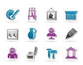 Fine art objects icons — Stock Vector
