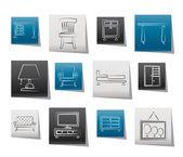 Ikon domowych mebli i sprzętu — Wektor stockowy