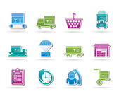 Logistic, cargo and shipping icons — Stock Vector