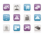 Holiday travel and transportation icons — Wektor stockowy