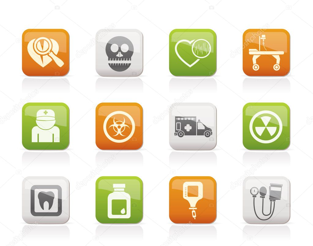 Medicine and hospital equipment icons - vector icon set  Stock Vector #7552798