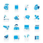 Komunikacji, połączenia i technologii ikony — Wektor stockowy