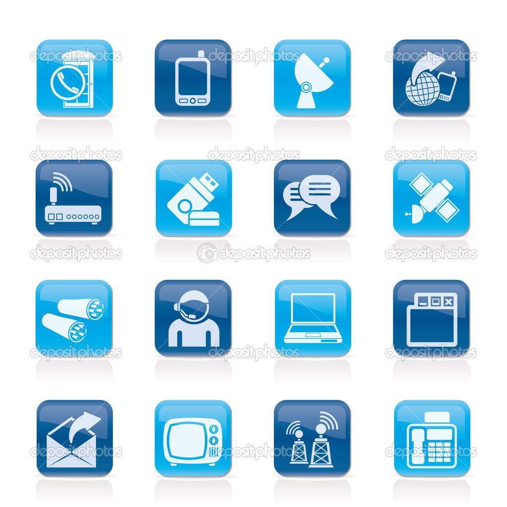 Communication, connection  and technology icons - vector icon set — Stock Vector #7717324