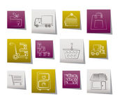Storage, transportation, cargo and shipping icons — Stock Vector