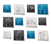 Medicine and hospital equipment icons — Stock Vector