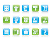 Bathroom and toilet objects and icons — 图库矢量图片