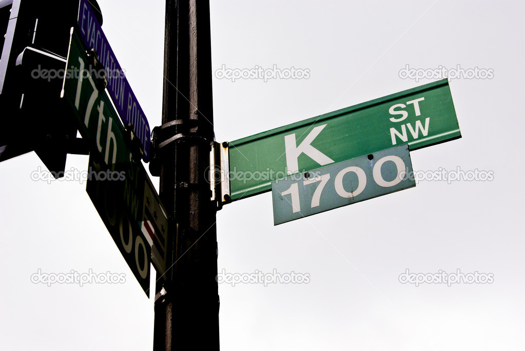 Street sign identifying headquarters for Washington influence peddlers — Stock Photo #6749298