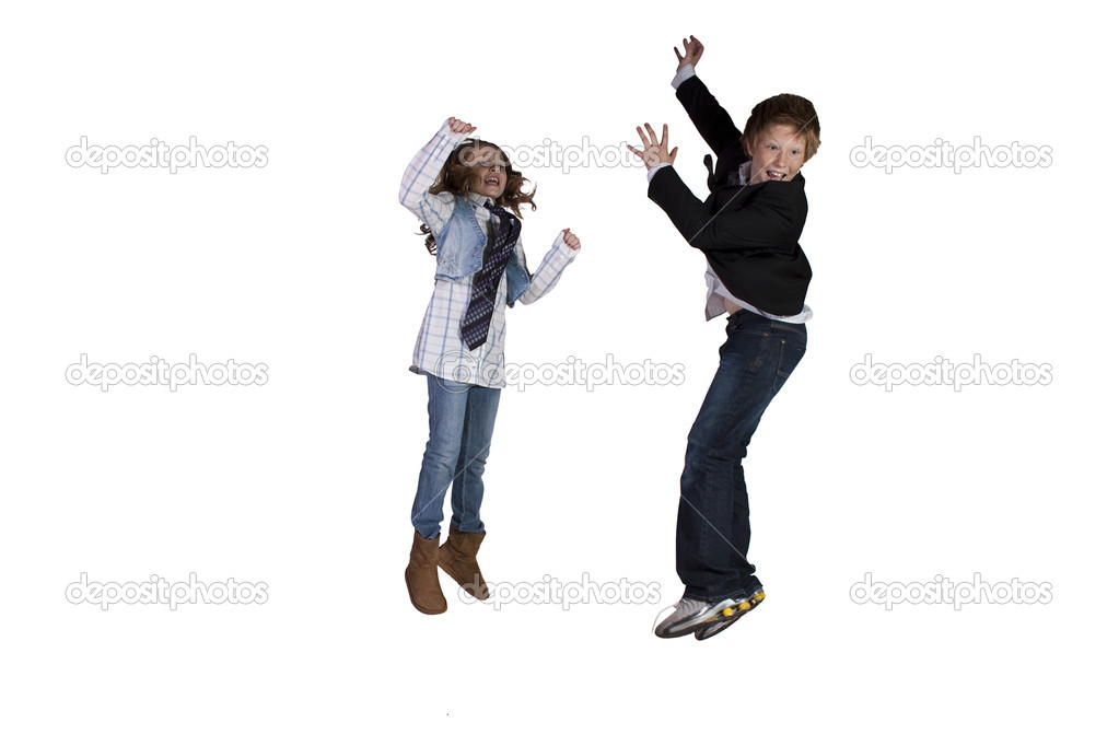Brother and Sister Playing Around - Isolated Background  Stock Photo #7028837