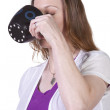 Woman Drinking Coffee Standing Up — Stock Photo