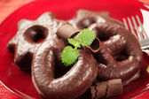 Chocolate covered gingerbread cookies — Stock Photo