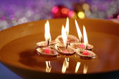Floating Candles in Bowl of Water — Stock Photo