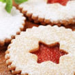 Stock Photo: Jam shortbread cookies