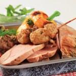 Roast pork meat in a baking pan — Stock Photo