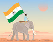 India elephant and flag — Stock Vector