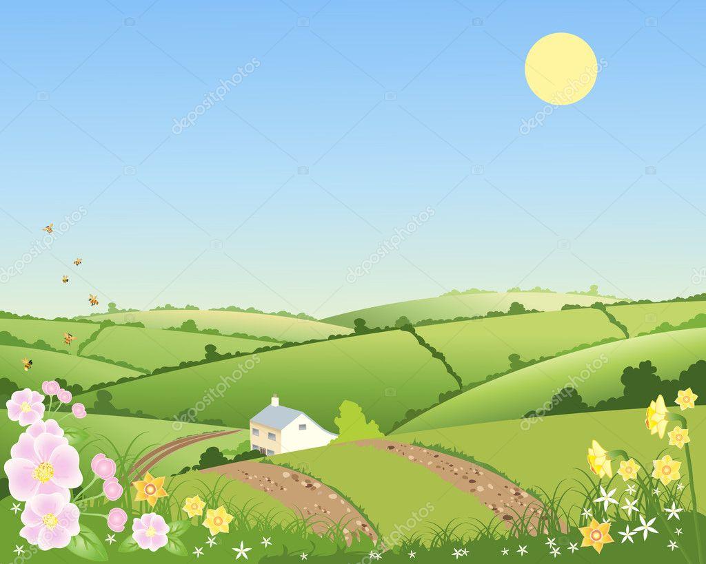 Villetta di campagna in primavera vettoriali stock for Disegni di cottage di campagna