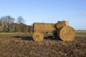 Straw bale tractor — Stock Photo