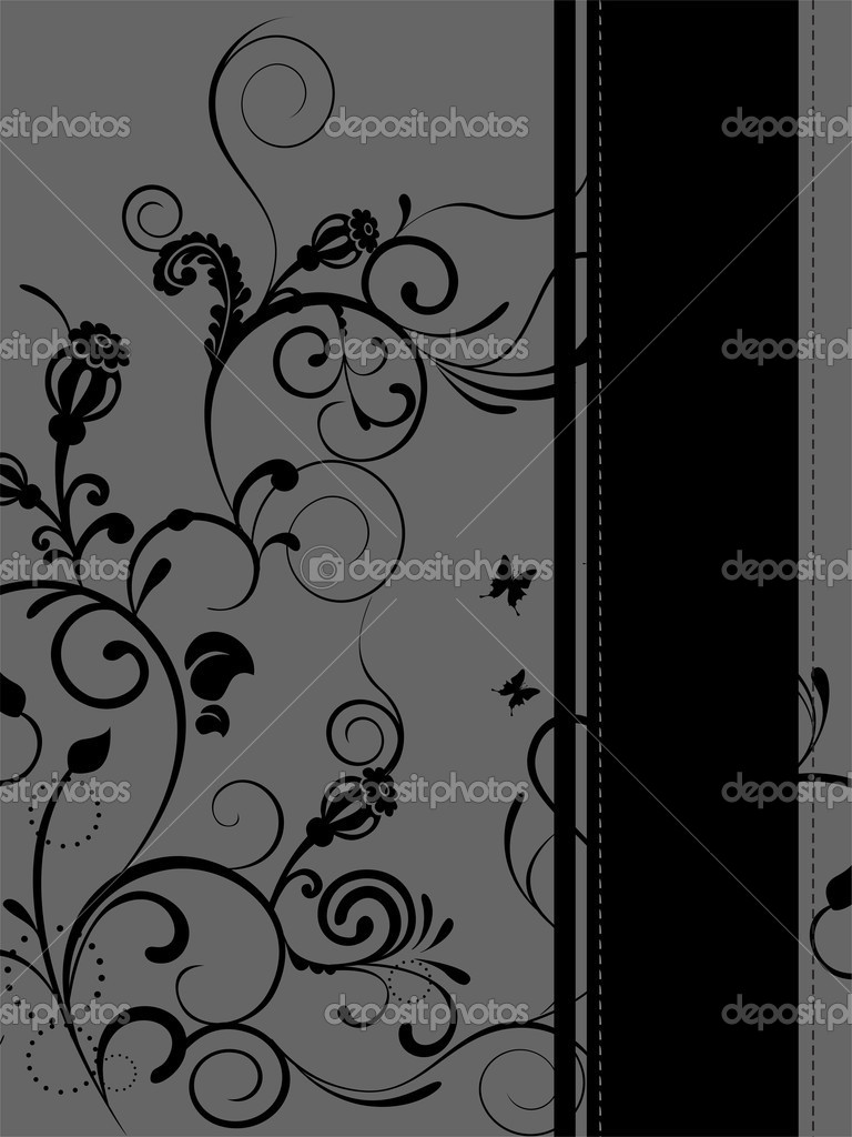 Vector illustration of floral elements on black and grey background  Stock Vector #7287791