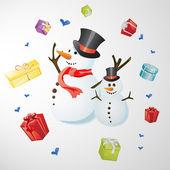 снеговик с подарком — Cтоковый вектор