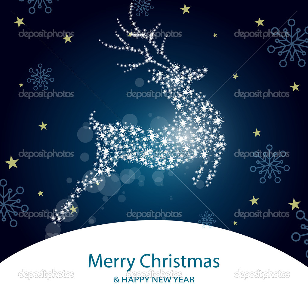 Vector illustration of a roe deer on an abstract christmas background — Stock Vector #7876798