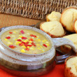 Healthy Corn Chowder with Muffins — Stock Photo