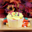 One yellow fall decorated cupcake - Stock Photo