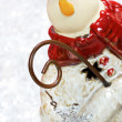 Snowman peeking around corner with bokeh background.  Selective — Stock Photo