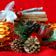 Christmas decoration with lit candles — Stock Photo #7564980
