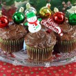 Chocolate Cupcakes decorated for Christmas — Stock Photo
