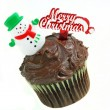 Christmas Chocolate Cupcake with Snowman on White. — Stock Photo