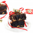 Chocolate Fudge Peanut Butter Brownies with Christmas Ribbons an — Stock Photo #7565174