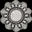 Vintage doily on black — Stock Photo