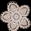 Handmade Pineapple Doily on Black — Stock Photo