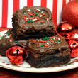 Chocolate Christmas Brownies — Stock Photo