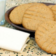 Peanut Buttercookies and milk - Photo
