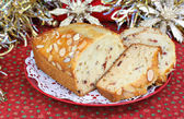 Cranberry Almond Pound Cake in Christmas Setting — Stock Photo