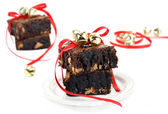 Chocolate Fudge Peanut Butter Brownies with Christmas Ribbons an — Stock Photo