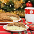 Royalty-Free Stock Photo: Apple streusel cake, selective focus on slice