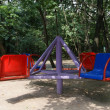 A colorful playground in a park. Moscow, Russia — Stock Photo